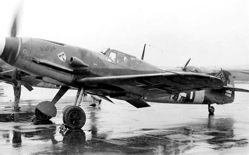 "Messerschmitt Bf.109 F-4 ""Katja"", Oblt. Hans Schleef 7./JG3, Straubing, Германия май 1942 года"